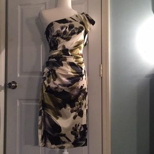 London Times Party Dress One Shoulder Silky Sz 4